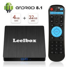 Android 8.1 tv Box, Leelbox Q4 S 4GB+32GB Quad Core Smart TV Box Support BT 4.1/2.4GHz WiFi/3D/4K/H.265