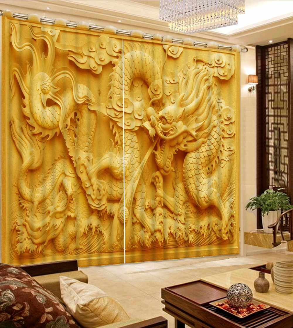 3D Curtain Fashion Yellow Background Carved Dragon Curtains For Bedroom Custom Any Size 3D Curtain Blackout Curtain Living Room