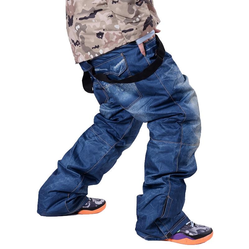 Pantalons de Ski pour hommes en plein air sauvage bretelles détachables hydrofuge snowboard d'hiver pantalon de Ski des neiges pantalon en Denim bleu noir
