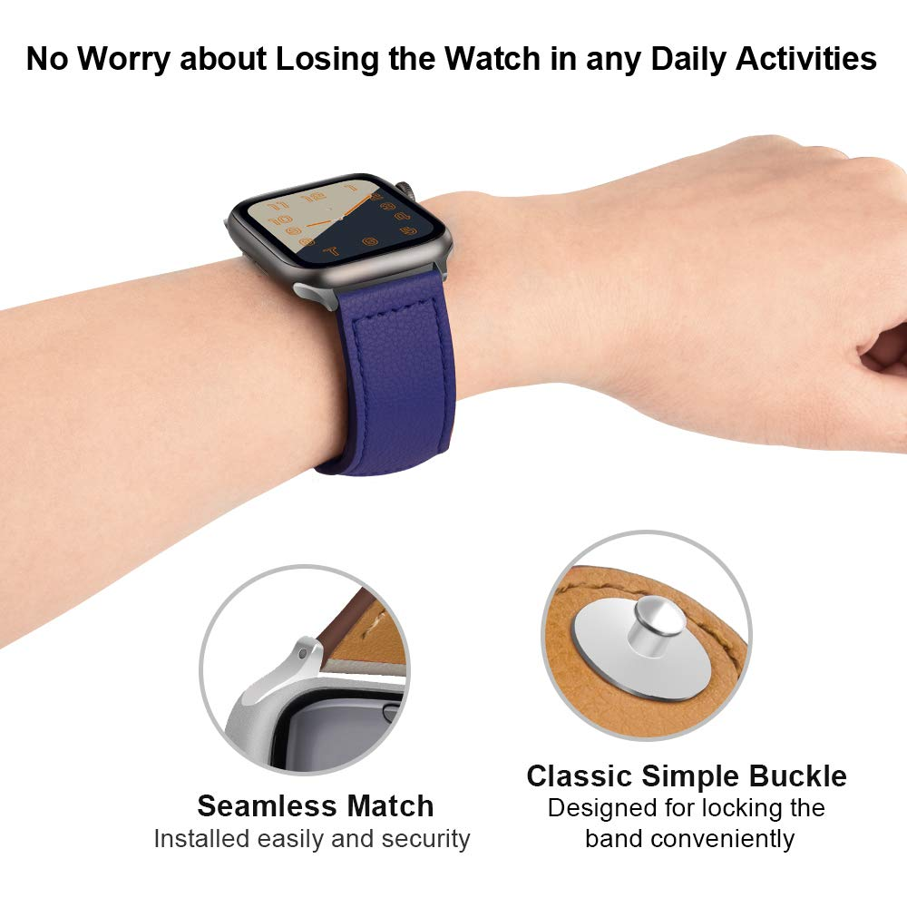 OSRUI Leather strap For pulseira Apple Watch 42mm 44mm band i watch bands 38mm 40mm series 3 2 1 Wrist bracelet belt Accessories in Watchbands from Watches