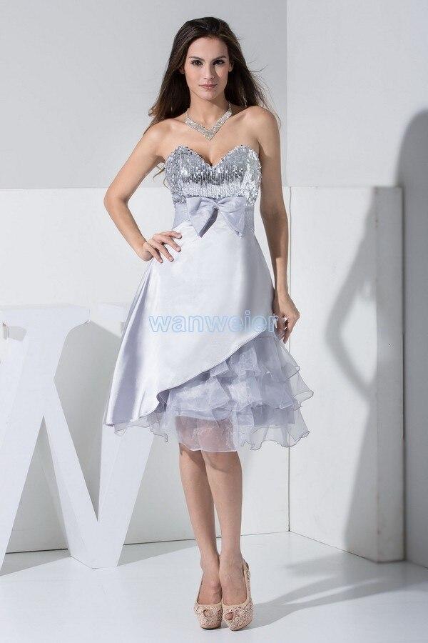 Livraison gratuite courtes robes de bal 2014 vente chaude personnalisé nouveau parti mode robe arc sexy chérie argent paillettes gradins