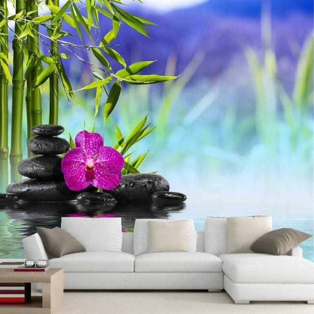 3d gro e wandbilder wallpaper orchidee steine wasser bambusoideae blumen tapete tv wand sofa. Black Bedroom Furniture Sets. Home Design Ideas