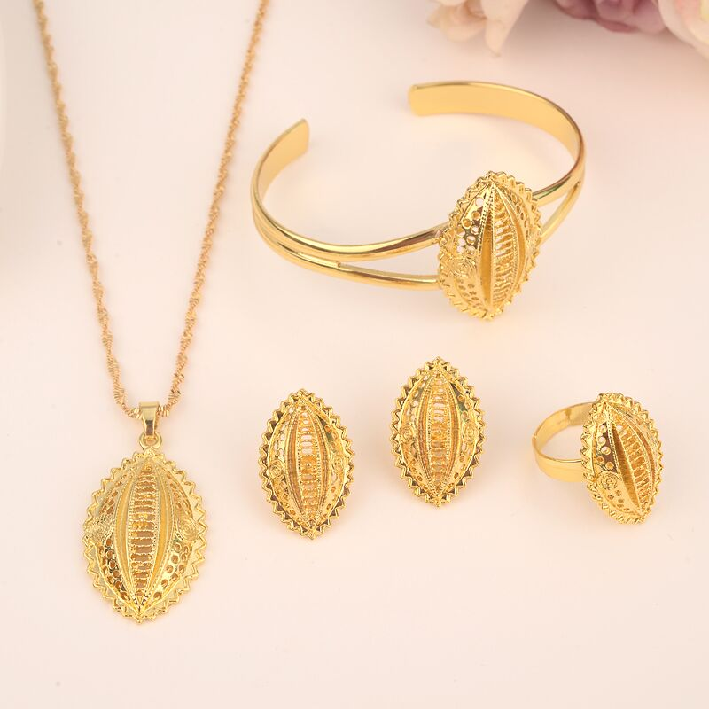 New Ethiopian Necklace/Earrings Wedding Jewelry Set For Women 24 k Solid Gold Color/Copper African/Ethiopian/Dubai Party GiftsNew Ethiopian Necklace/Earrings Wedding Jewelry Set For Women 24 k Solid Gold Color/Copper African/Ethiopian/Dubai Party Gifts