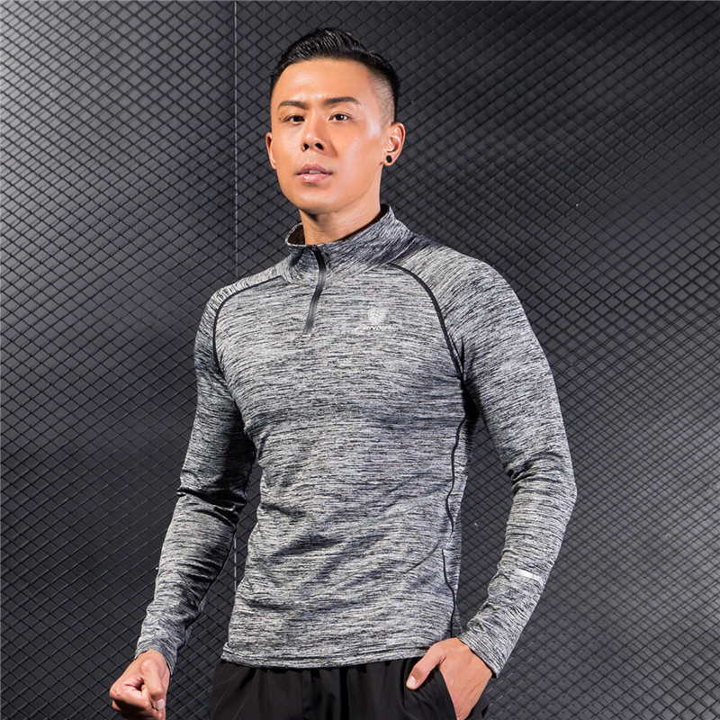Men's Long Sleeve Jersey Stand Collar Quick Dry Breathable Sports Clothing for Camping Hiking Running Shirts with Half Zipper