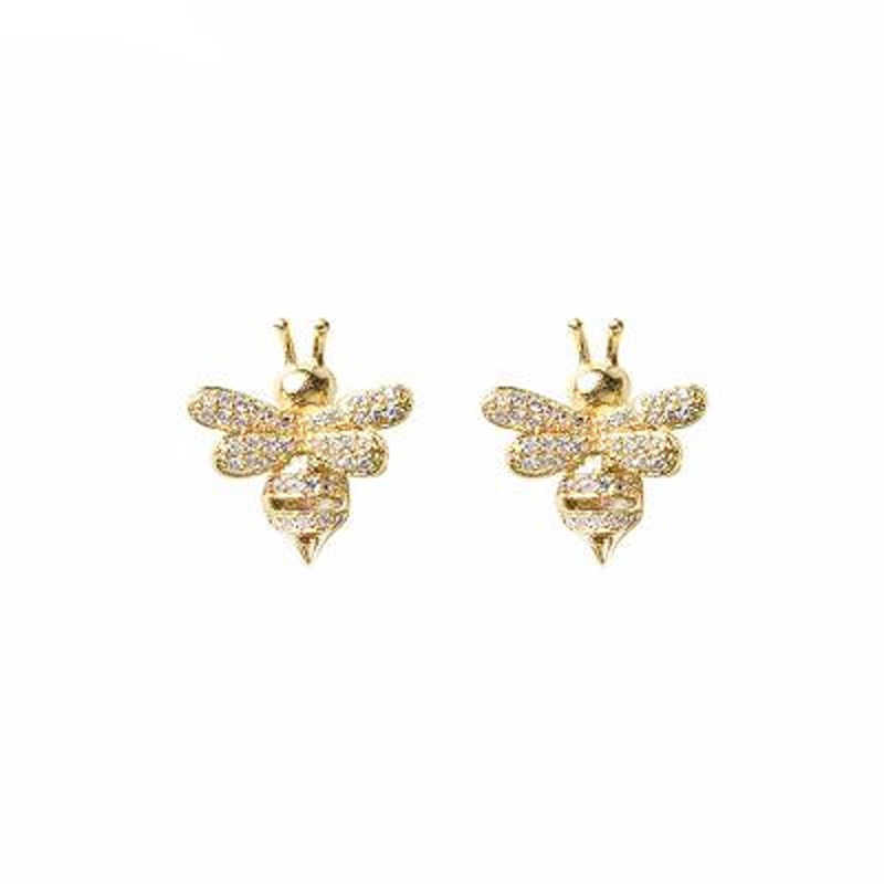 REETI 925 Sterling Silver Bees  gold Stud Earrings For Women 2018 New Trend Personality Lady Fashion Jewelry