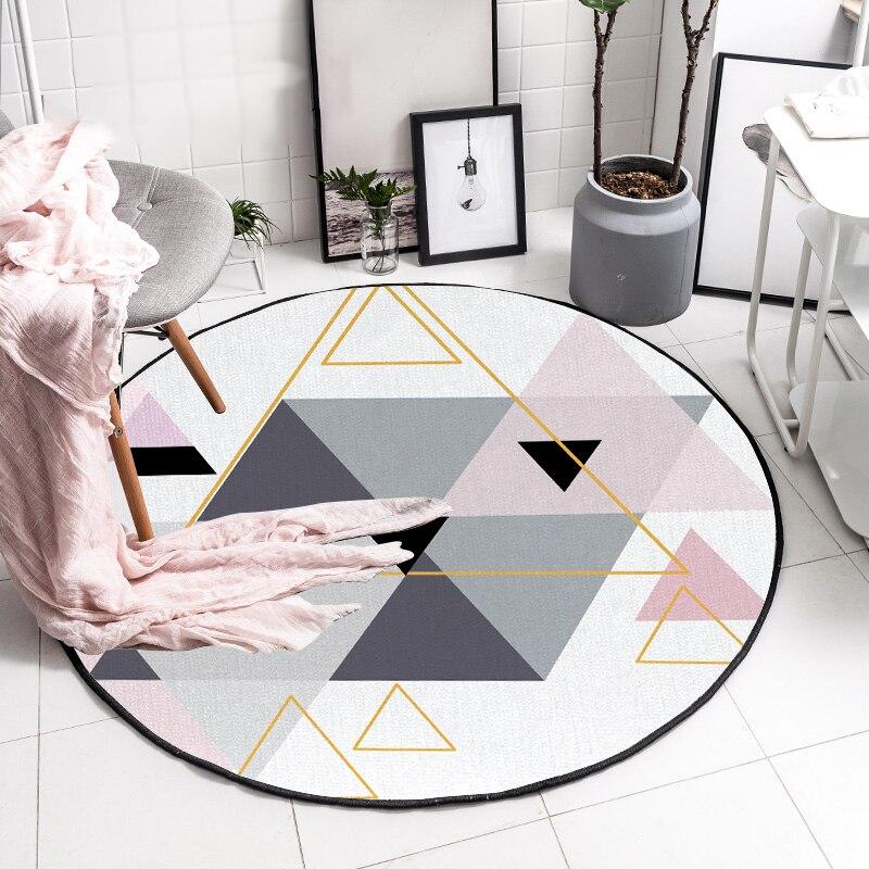€9.99 16% de réduction|Mode scandinave rond bref Triangles rose gris tapis  décoratif chaise bébé rampe Pad porte tapis salon tapis-in Tapis from ...