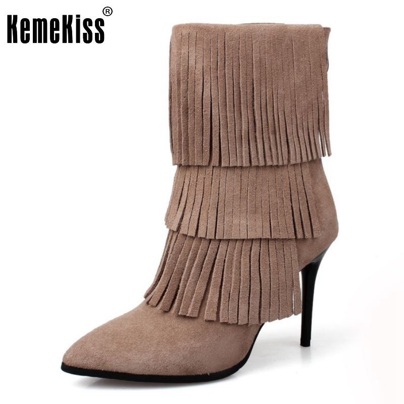 New Fashion Womens Shoes Spring Autumn Tassels Bottine Femme Suede Nubuck Leather High Heels Half Boots Size 34-39 egonery quality pointed toe ankle thick high heels womens boots spring autumn suede nubuck zipper ladies shoes plus size