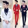 (Куртка + жилет + брюки) мужская мода бутик хлопок чистый цвет жених свадебное платье свадьба костюмы/Мужчины тонкий Смокинг костюмы