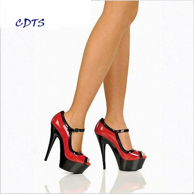 Mince De Chaussures Des Peep 15 35 Boucle Plus Mujer Toe Talons Pompes forme La Correspondant automne Zapatos Rouge Mariage Cad Femmes Cm Couleur 45 blanc 46 Plate Printemps 1ZHOgqgw