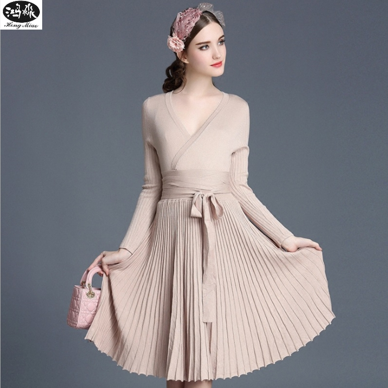 2018 Autumn New Sexy Long-sleeved V-neck Dress Women Knee-Length Elegant Bow Waist Fold Pleated Knit Office Dress Party Vestido