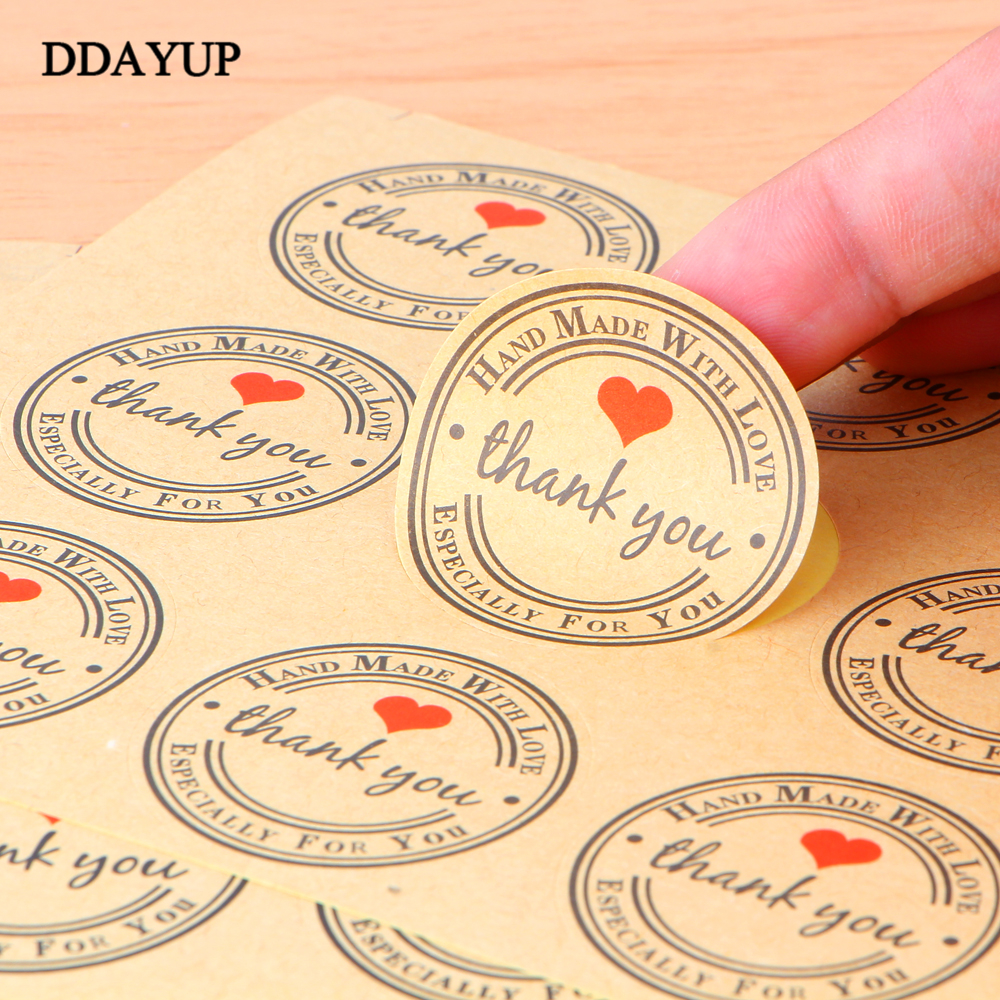 150pcs/10sheet Thank You Self-adhesive Stickers Kraft Label Sticker Diameter 3cm For Diy Hand Made Gift /cake /candy Paper Tags matte white a4 kraft paper self adhesive square print label stickers library book shipping labels for laser inkjet printer
