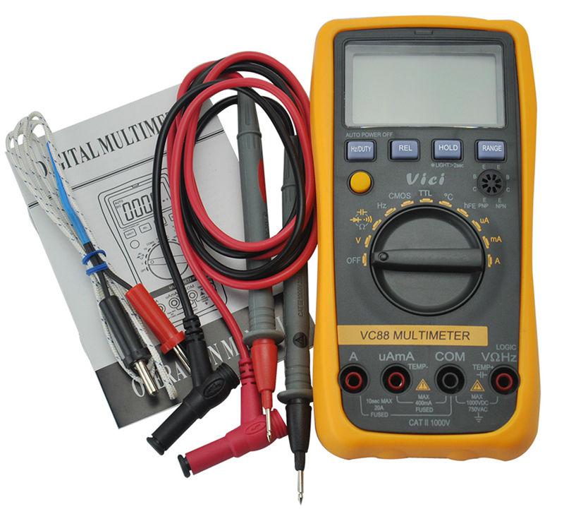 VC88 3 3/4 Digital Multimeter Auto Range Multimetro Tester DMM w/Temperature Capacitance Frequency hFE & CMOS & TTL Logic Test digital multimeter victor vc 6056d3 4 auto range temperature test streamline design