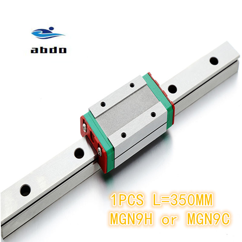 1pcs 9mm Linear Guide MGN9 L= 350mm linear rail way + MGN9C or MGN9H Long linear carriage for CNC XYZ Axis