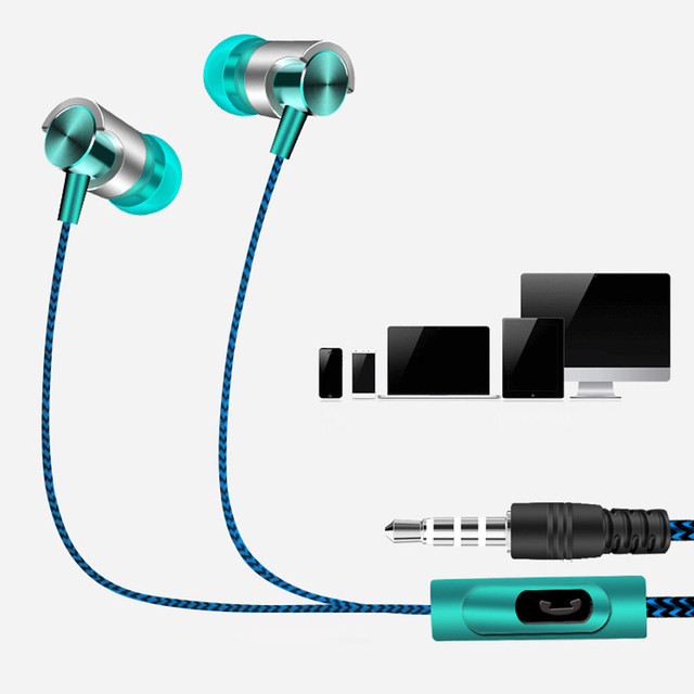 Universal 3.5mm In-Ear Stereo Earbuds Earphone With Mic For Cell Phone Music Earbud Bass Stereo Sound Headset Noise Canceling