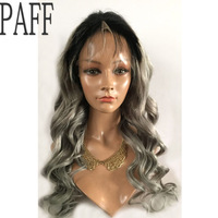 PAFF ombre glueless full lace wig Virgin hair Brazilian body silver grey human hair wig with natural hairline baby hair
