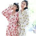 Bestie robe adulto mulheres lolita manga longa sleepwear rosa dos desenhos animados morango polka-dot bath robes roupões para as mulheres QHQ