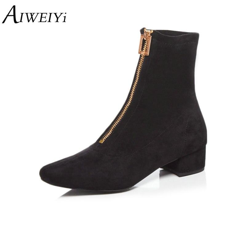 01d5e765d9e2de Mode Haute blackfur Épais Plate Aiweiyi Bottes Courtes Chaussons Femmes  Chaussures Carré Noir Cheville apricotfur Talons Hiver ...