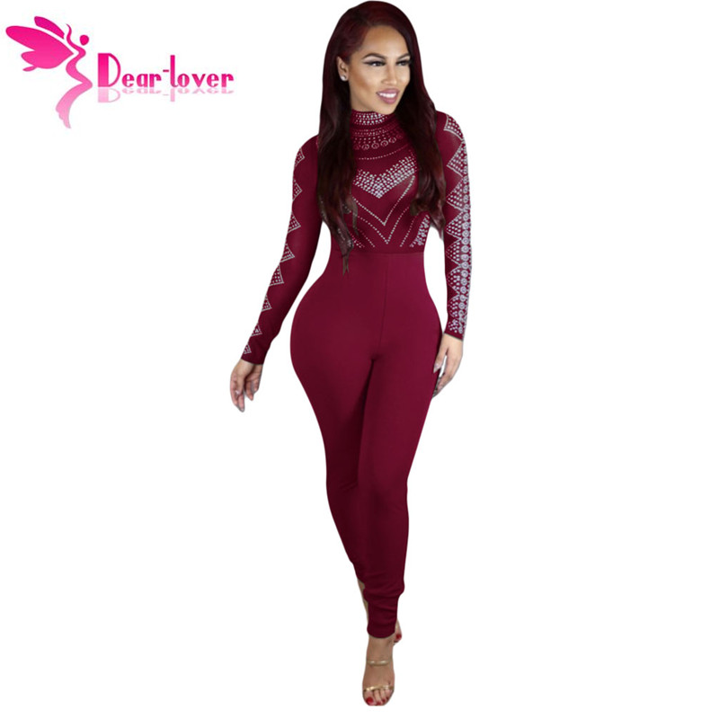 5df59d0454f Dear Lover rompers womens jumpsuits Autumn Burgundy Long Sleeve Studded  Mesh Top Long Playsuit Overalls Macacao Feminino LC64233 - TakoFashion -  Women s ...