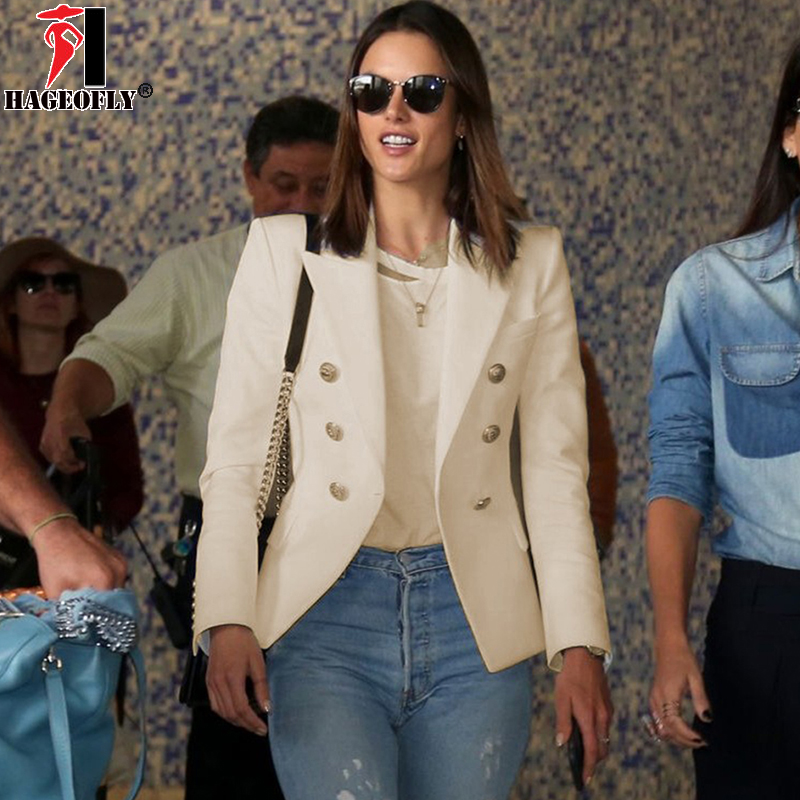 HAGEOFLY 2018 Design Noir Blanc Blazer Femmes Wrok Bureau Formelle Double Boutonnage Boutons Blazers Automne Plus Grande Taille Blazers