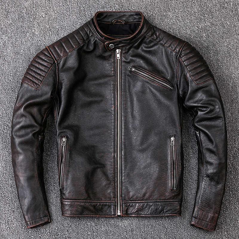 Maplesteed Merah Coklat Vintage Jaket Kulit Alami Kulit Sapi Jaket Mantel Sepeda Motor Pria Biker Pakaian Kulit Slim M104