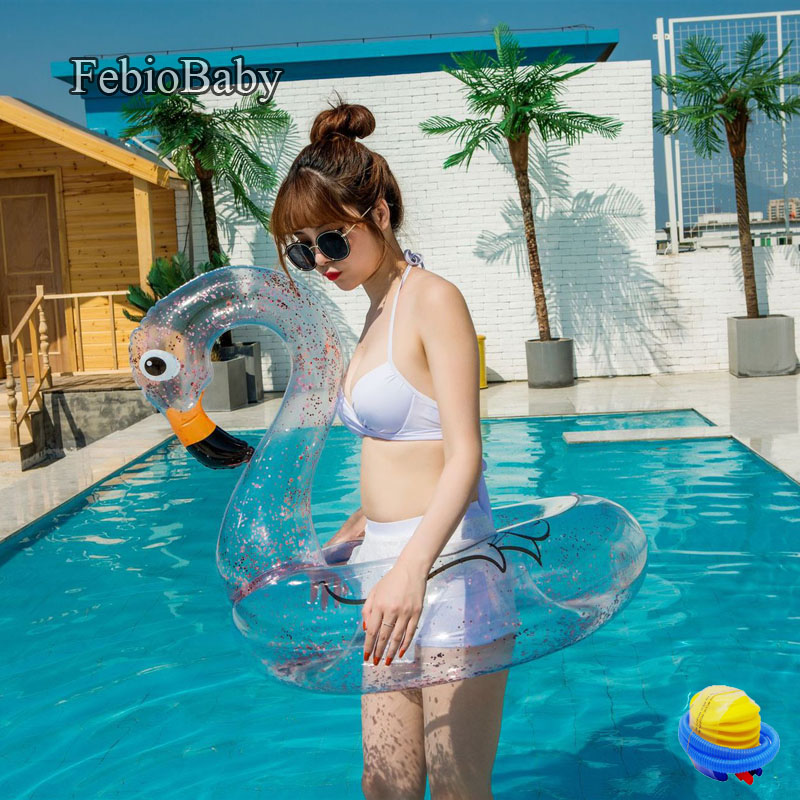 Summer Inflatable Ride-ons Ring Transparent Glitter Flamingo And Unicorn Bath Water Toy Pool Rafts Adult Swim Floating Free Pump