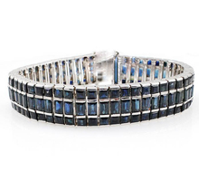 Qi Xuan_Fashion Jewelry_Dark Blue Stone Luxury Woman Bracelets_s925 Solid Silver Dark Blue Bracelets_Factory Directly Sales