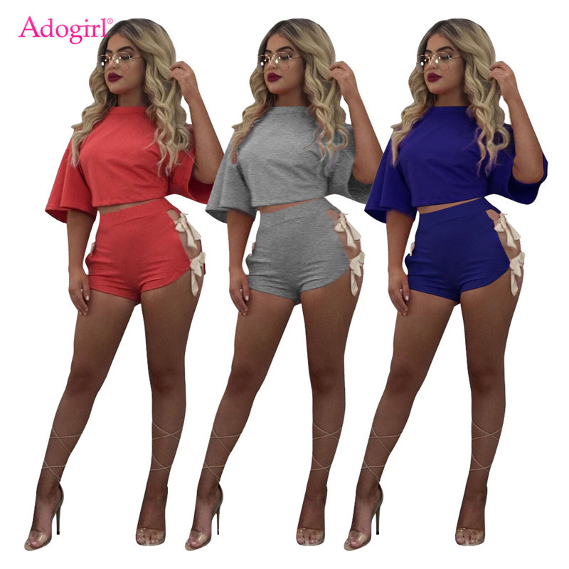 Adogirl Women Solid Lace Up Casual Two Piece Set O Neck Half Sleeve Loose T-shirt Crop Top + Shorts Streetwear Club Tracksuit