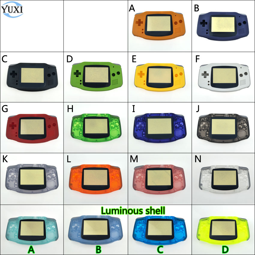 YuXi Full Set Housing Case Replacement Case Plastic Shell Cover for Gameboy Advance for GBA Console Buttons + Luminous Shell yuxi bumper triggers buttons replacement plastic