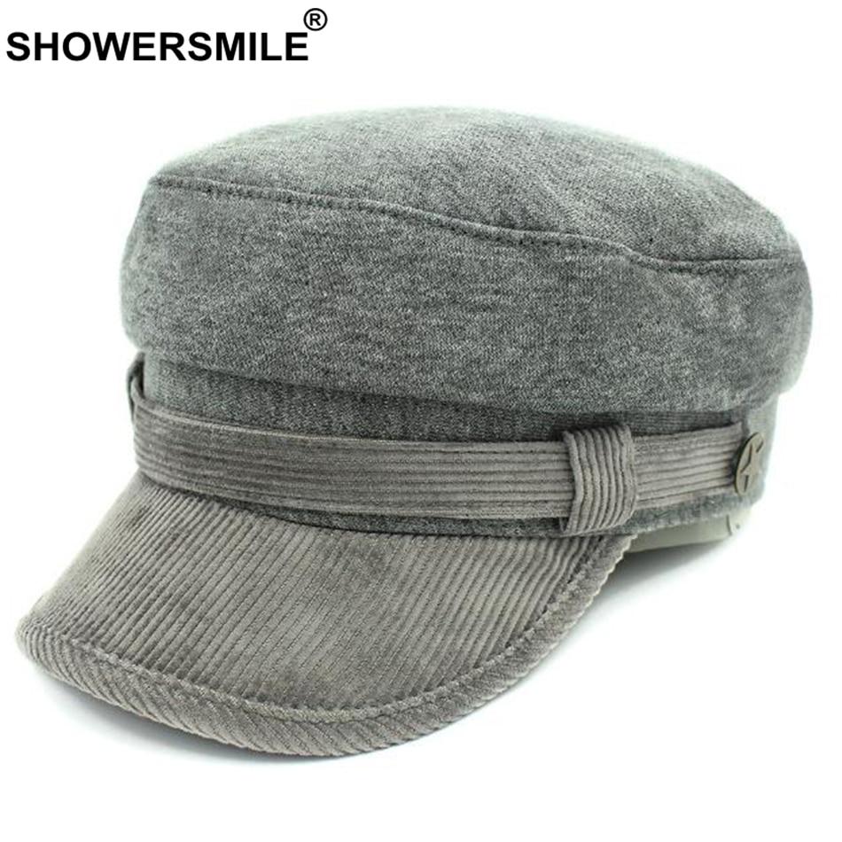 SHOWERSMILE Grey Newsboy Cap Hat Women Cotton Vintage Flat Caps Men Classic  British Style Autumn Winter Caps And Hats Fashion 2aca97813e0
