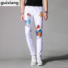 2017 новый стиль мужская повседневная мода вышивка петух pattern джинсы Мужчин высокое качество печати джинсы мужские брюки размер 28-36