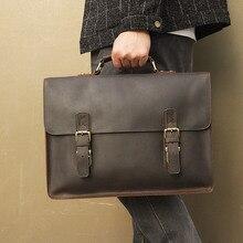 "15"" Laptop Briefcase Shoulder Crossbody  Bags Cow Leather Men  Male Brown Business Travel Vintage Casual Fashion Handbags"