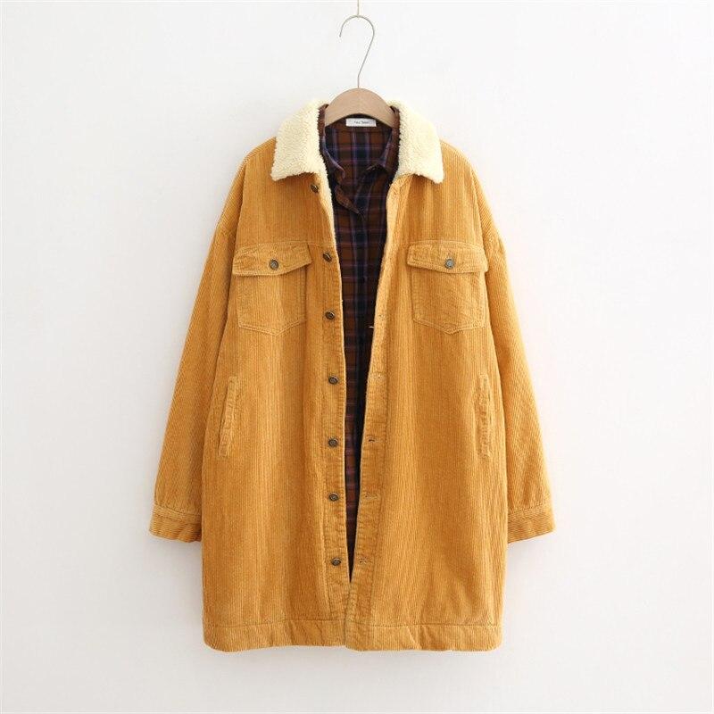 Vintage automne hiver femmes épais velours côtelé vestes longs manteaux décontractés lâche laine Liner vêtements d'extérieur femmes à manches longues dames vestes