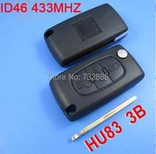 3 Кнопка Флип Ключ Дистанционная Установка с ID46 Электронный Чип внутри 433 МГц Для Peugeot 307 407 308 408