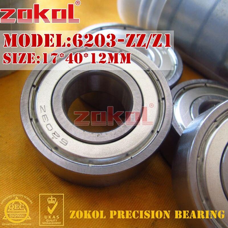 ZOKOL 6203zz bearing 6203RS S6203ZZ 6203 ZZ Z3V3 Z1 6203-2RSN Deep Groove ball bearing 17*40*12mm 17