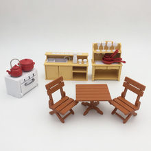 Suit For Sylvanian Family Figure 1 12 Doll House Dining Room Kitchen Set Mini Furniture Diy Pretend Toy Gift Christmas
