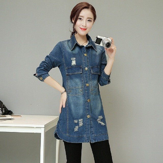 Spring fashion denim trench coat woman vintage A line vintage jean trench  long coat femme overcoat women ripped hole jean coat