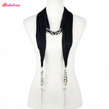 AOLOSHOW Fashion Women Jewelry Necklace Scarf Chains Oversized links scarf with two ending drops shawl for female NL-2032