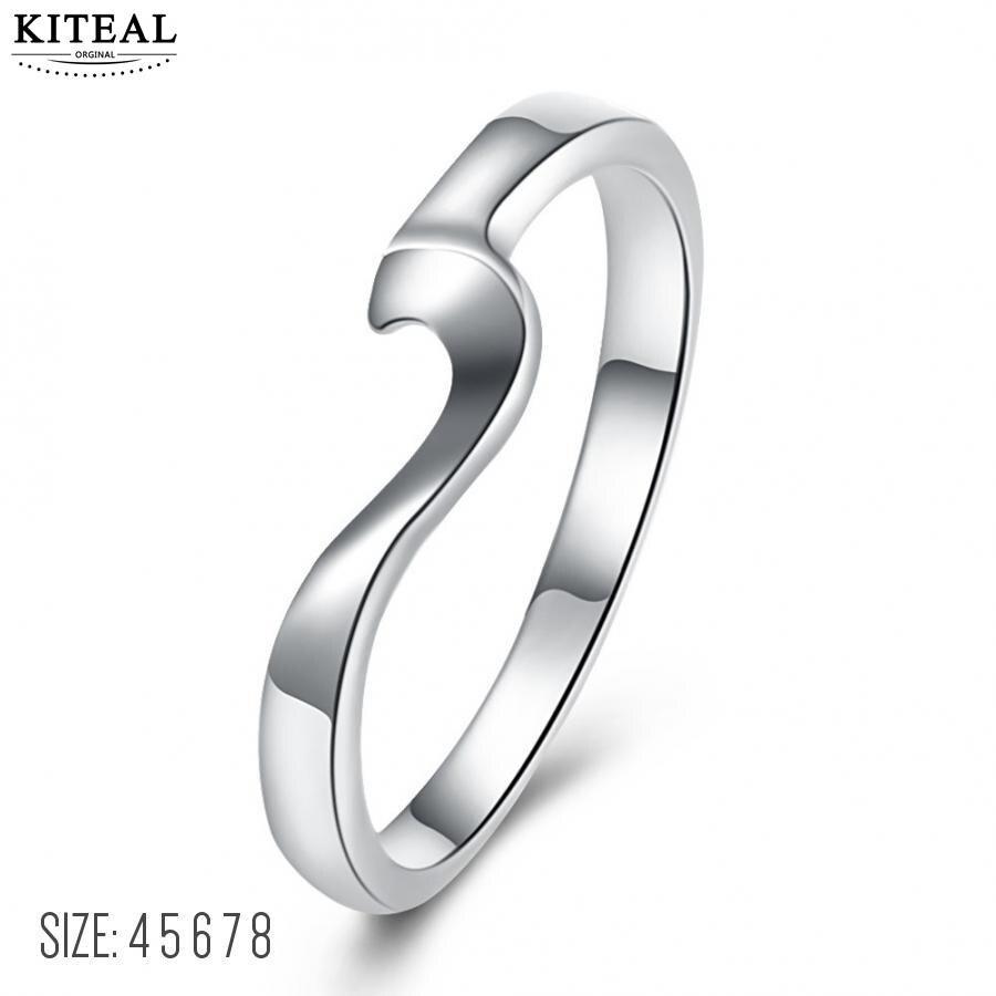 Verlobungsringe Flight Tracker Kiteal Heißer Verkauf Silber Farbe Größe 4 5 6 7 8 Parfüm Frauen Engagement Ring Einfache Welle Ring Geometrie Anel Elegante Exzellente QualitäT
