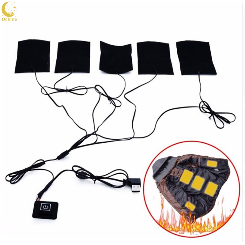 Ochine Electric Heating Pads Thermal Clothes Warmer Heated Jacket  8W 5V Mobile Warming Gear Switch DIY Set 5/3/2 Pcs In 1