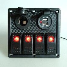 4 Gang Waterproof Car Marine Boat Circuit Red LED Rocker Switch Panel Breaker 12V 24V