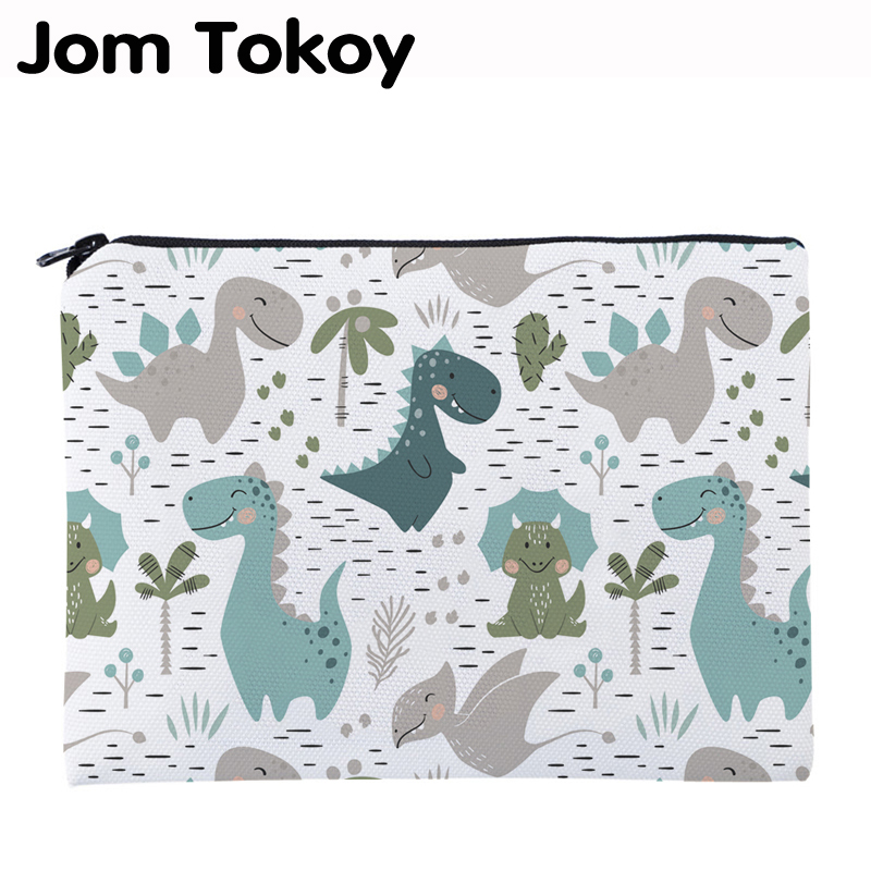 Jom Tokoy Printing Cute Dinosa Necessaries For Travelling Organizer Makeup Bag Women Square Cosmetic Bag With Zipper