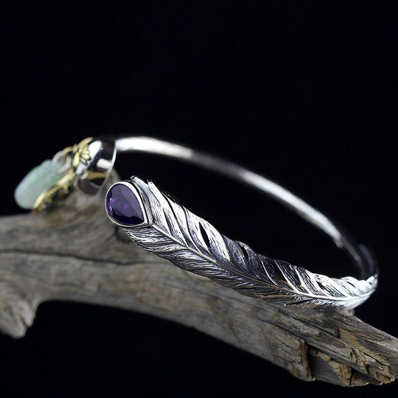 Water Drop Аметист Винтаж Перо тонкой птица Натуральный Камень Кристалл кисточкой нефритовый браслет для Для женщин тайский серебряный браслет Открытие