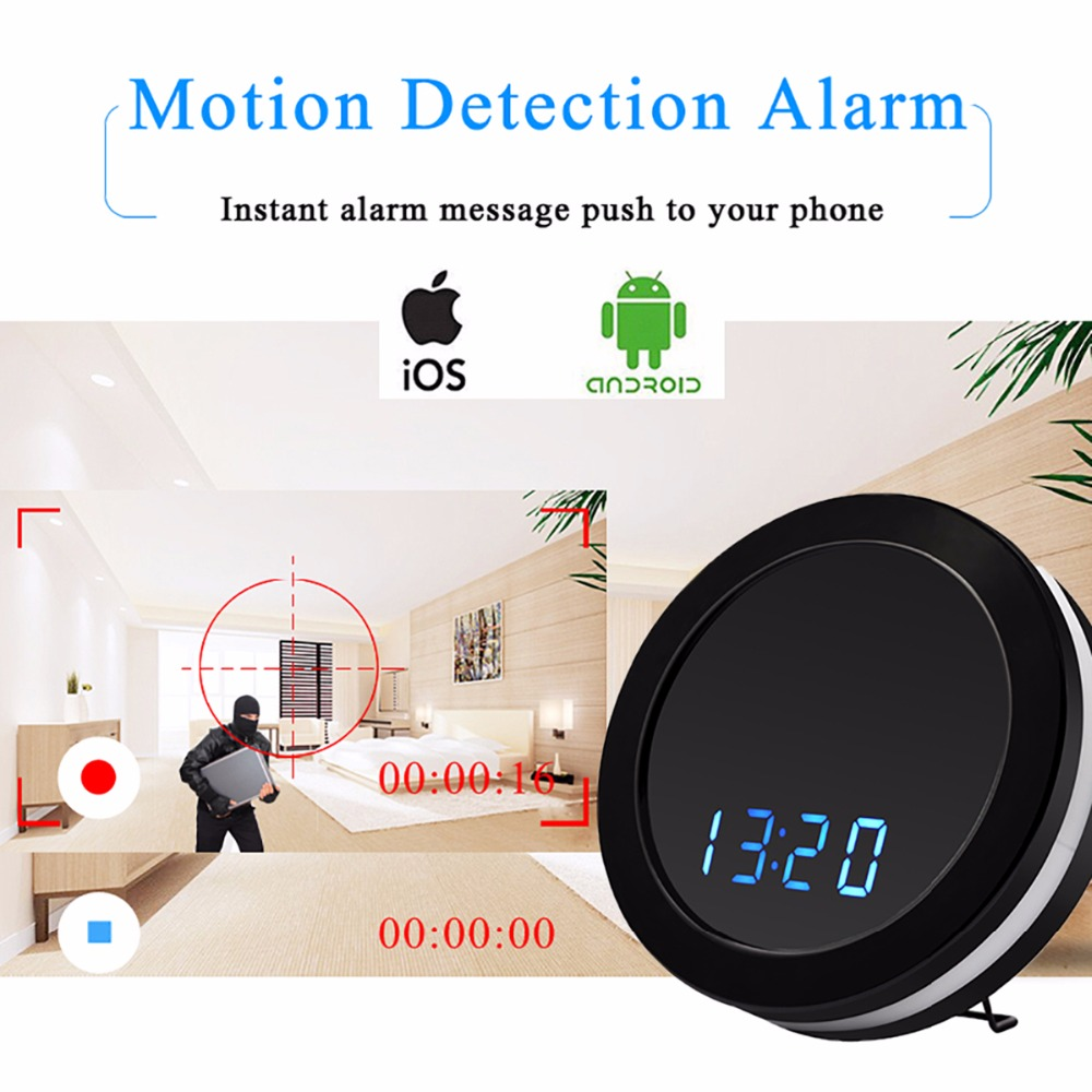 1080P Table Clock IP Camera Electronic WIFI Camera P2P TV Baby Night Vision Monitor Home Security Monitoring Secret Cam Espion-in Mini Camcorders from Consumer Electronics    3