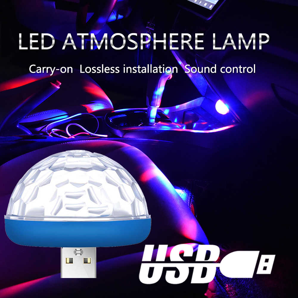 LED Car USB Atmosphere Light DJ RGB Mini Colorful Music Sound Lamp USB-C Smart Phone Surface for Home Party Decorative Lamp