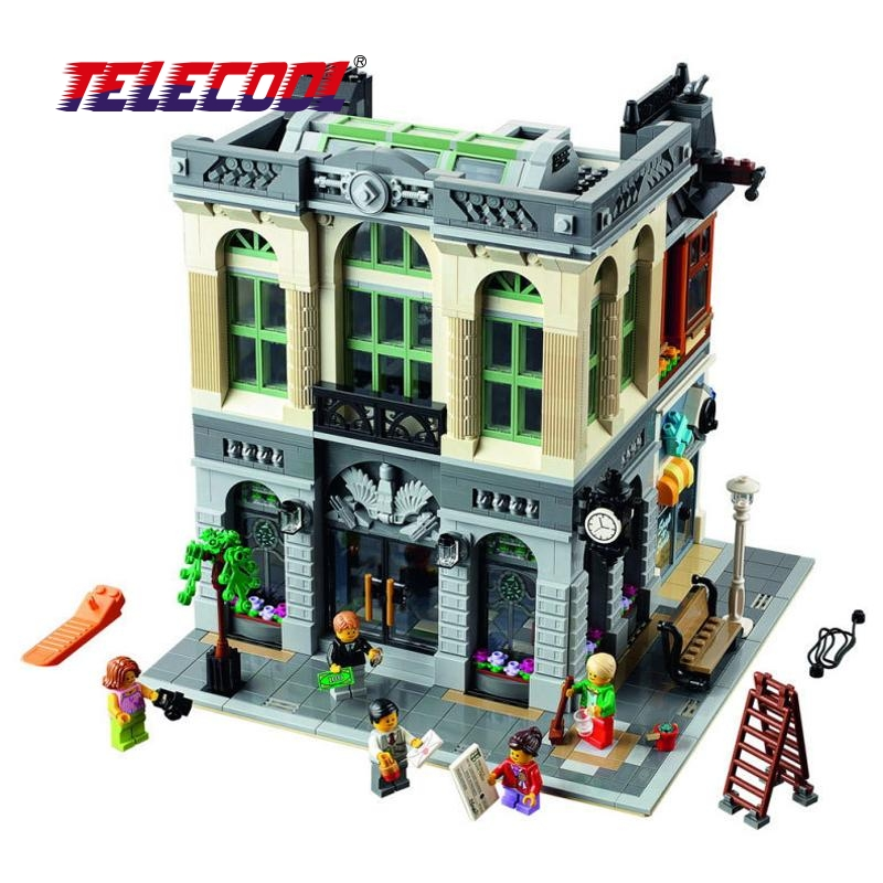 TELECOOL 15001 Brand City Street Series Creator Town Hall Model Building Kits Compatible with Lepin Building Blocks Toy lepin 15003 2859pcs city creator town hall sets model building kits set blocks toys for children compatible with 10024