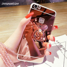 Innovation Case For iphone7 Cute Cartoon Bear Mirror TPU Ring Holder Stand Phone Cases iphone 7 Luxury Cover Accessories