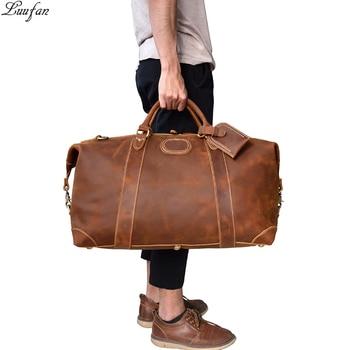 Men genuine leather travel duffle 18 inch Women Real leather travel bag Big vintage cow leather Weekend bag Big travel messenger Сумка