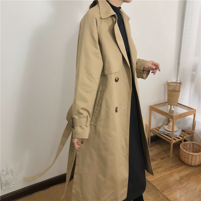 Spring And Autumn Women Fashion Brand Korea Style Waist Belt Loose Khaki Color Trench Female Casual Elegant Soft Long Coat Cloth 11
