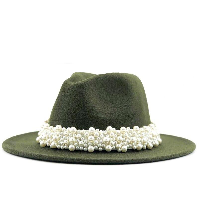 New Women Men Wool Fedora Hat With Pearl Ribbon Gentleman Elegant Lady Winter Autumn Wide Brim Church Panama Sombrero Jazz Cap