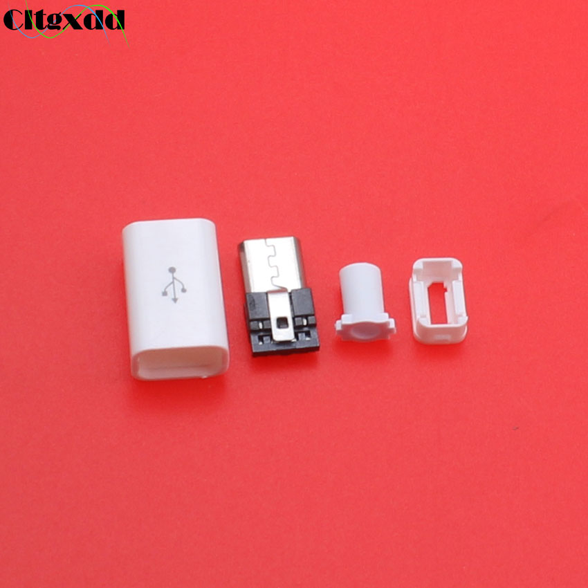 cltgxdd 5~20pcs Micro USB 4PIN Welding Type Male Plug Connector interface 4 pin USB Tail Charging Socket 4 in 1 kit cova White